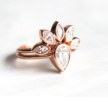 Crystal Multi-layer Ring Rose Gold Plated Element Lucky Clover 3 Rings Set