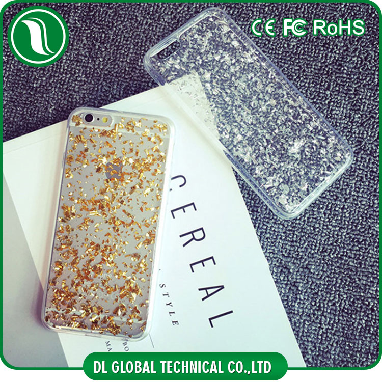 Beautiful Luxury gold foil phone case for iphone 6 Soft TPU silver foil phone case DLPC255