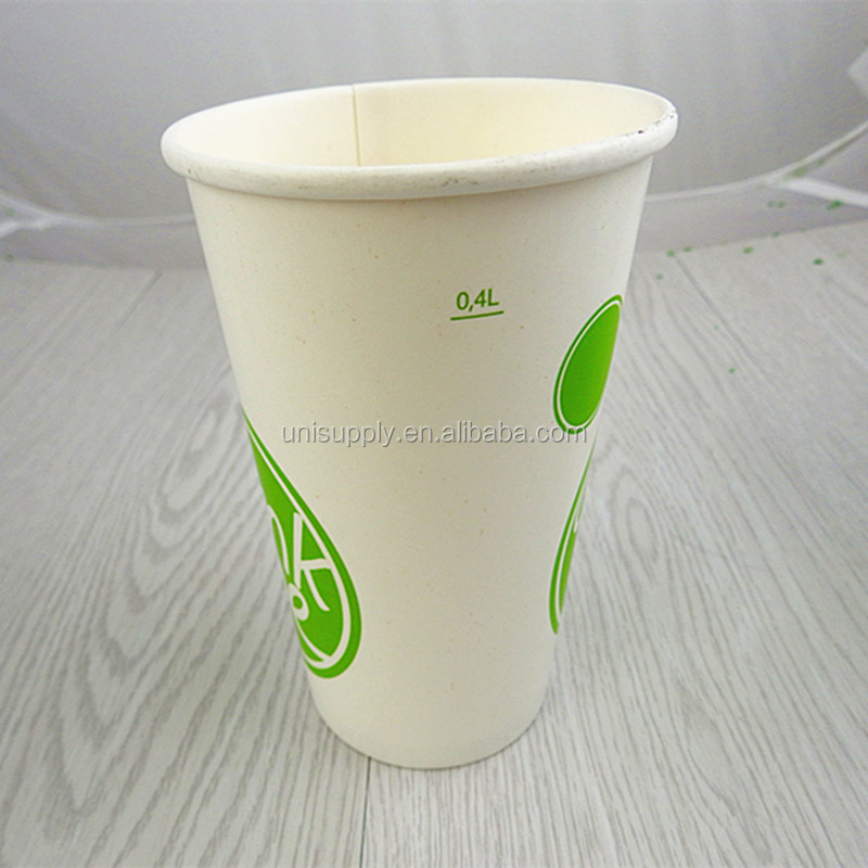 Disposable Biodegradable 16OZ 400ml Cold Drink Paper Cups and Lids Wholesalers China