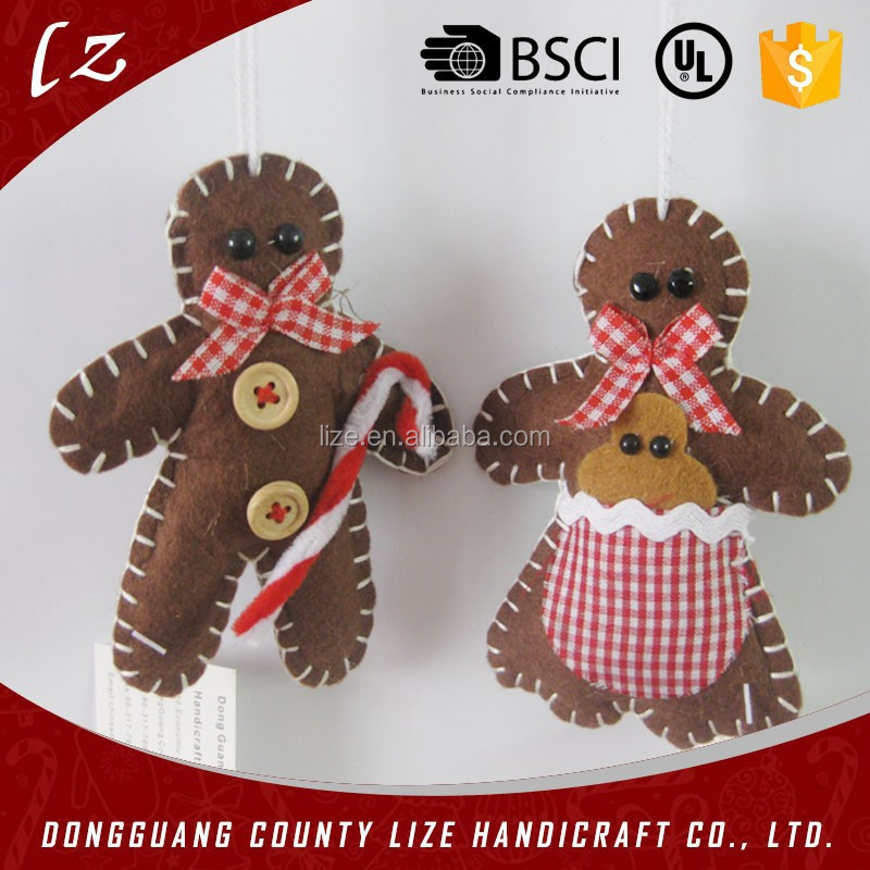 2015 hot sales new product China fabric home crafts holiday decorations felt handmade Christmas gingerbread man kit