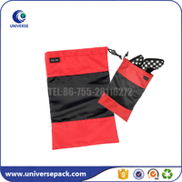 Wholesale black and red drawstring shoe polyester bags