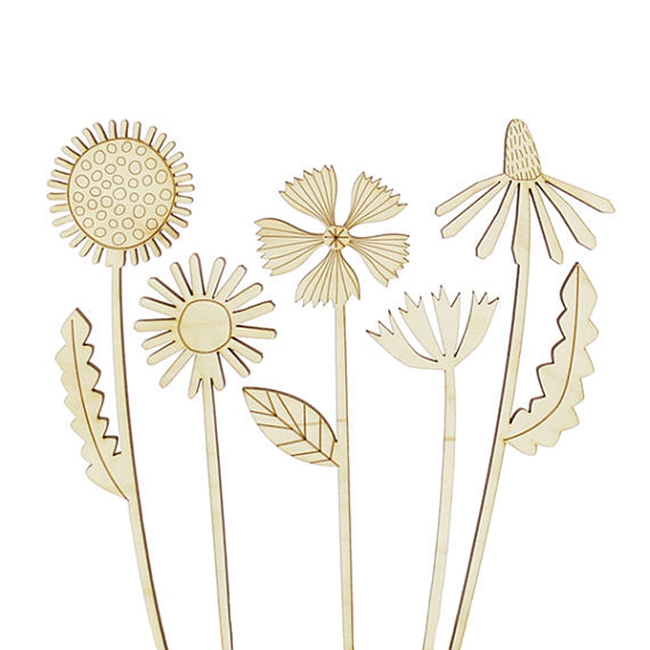 Laser cut wood flowers cake topper