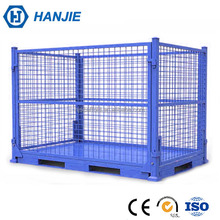 OEM foldable warehouse box stackable steel metal wire pallet container