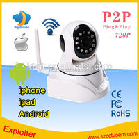 Pan/Tilt 32GB SD Card HD 720P Megapixel Outdoor HD WIFI IP Camera