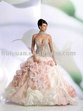 Deep V neck Strip white And Pink Wedding Dress 6012