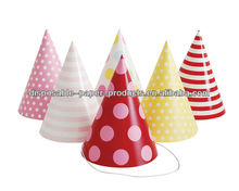Girls PRINCESS Pastel Paper Party Cone Hats Caps PARTY HATS Pink RED Yellow PACK 12 Polka Dots SPOTS Stripes KIDS PARTY SUPPLIES