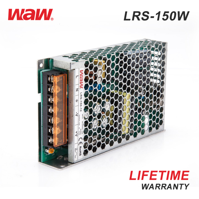 WODE 30mm Of Low Profile Design Ip67 Led Driver 12V 12A DC Switching Power Supply