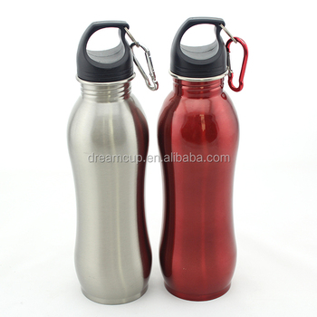single wall stainless steel sports water bottle curved shaped bottle with carabiner