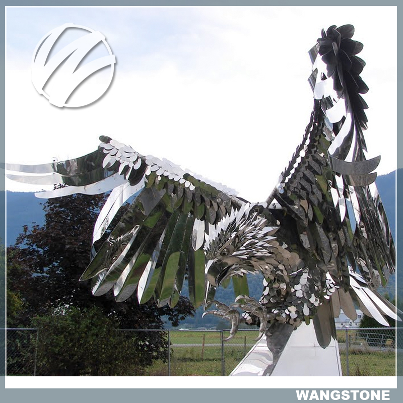 Modern abstract garden decoration life size metal eagle sculpture