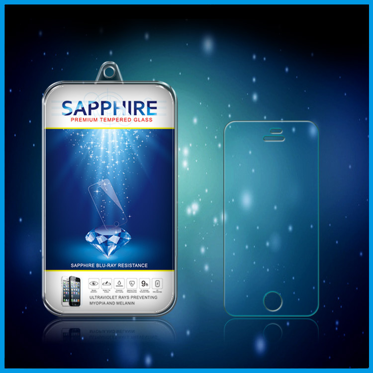Sapphire series screen protector, 2.5D Round Angle Premium tempered glass screen protector for iPhone 5/5s