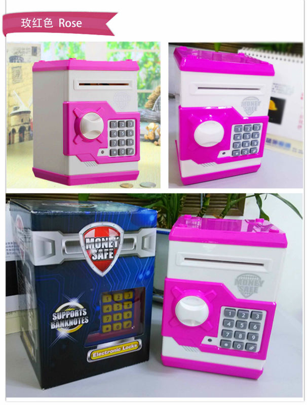 High quality plastic mini piggy bank atm