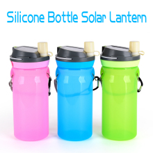 Sports Foldable Silicone Drinking Bottle with Solar Lantern