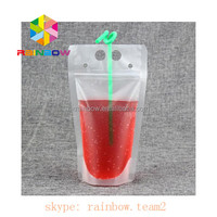 17oz / 500ml Disposable Plastic Stand up Water Juice Drink Pouches Bags with Straw