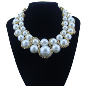 Poplar Big Pearl Zinc Alloy Chain Necklaces Jewelry for Women Jewelry Gift