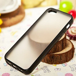 For IPHONE 5 Rubber Edged Hard Back Anti Shock Anti Slip PC TPU Bumper Case
