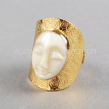 High quality female face lucky stone finger ring