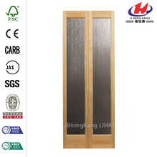 36 in. x 80 in. Rain Decorative Glass/Wood Pine Interior Bi-fold Door