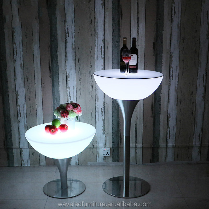 Commercial remote control LED high top cocktail bar table from Guangzhou