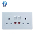 13A 2 Gang Switched Socket with Neon Light Socket switch