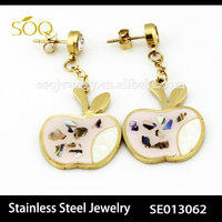 Fashion Gold Plated Apple Charms Chandelier Earring