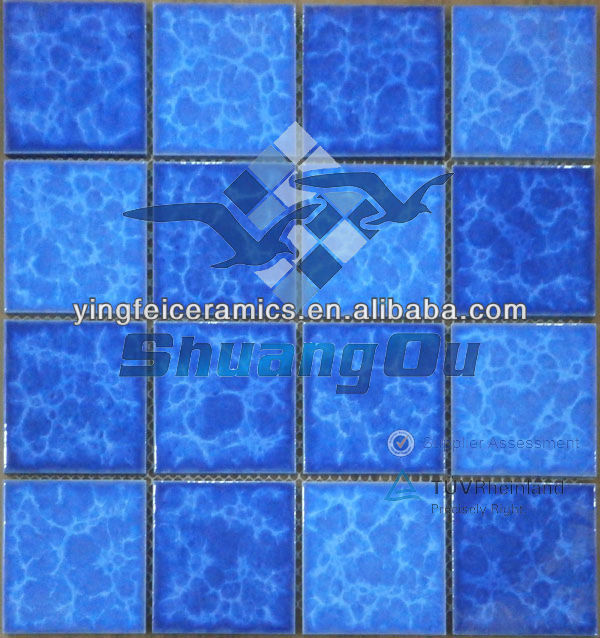 new products 73x73mm blue mosaic tiles for swimming pool, kitchen, bathroom and home decoration