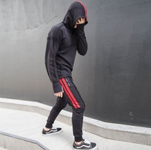 Street Fashion Styles Hooded Tracksuit & Sweat Red Striped Detail Slim Fit Suitsets OEM Service
