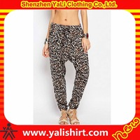 Customized casual breathable cotton/spandex full leopard print drop crotch tapered leg harem pants women