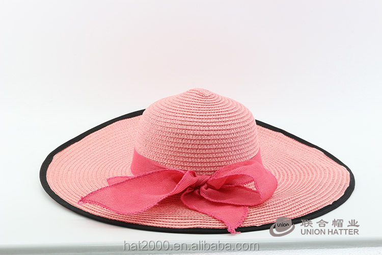 ladies color promotional paper women beach cheap sombrero floppy straw hat