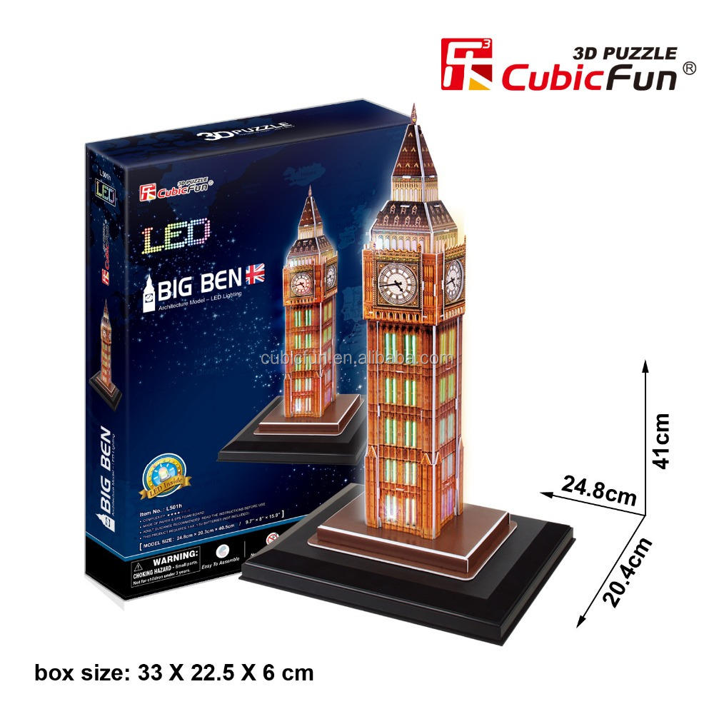 big ben 3d original paper puzzle with led lighting buy. Black Bedroom Furniture Sets. Home Design Ideas