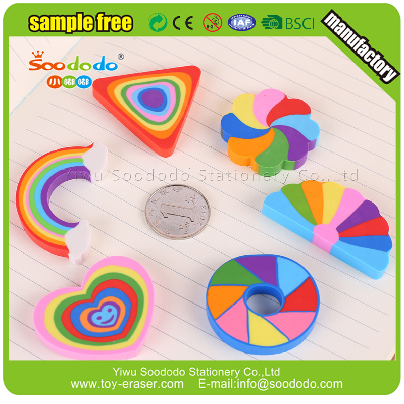 Extruded Rainbow Checkerboard Shape Eraser Rubber