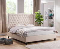 512 upholstered prado simple bed with bed frame pu leather/ Italian luxury style linen fabric upholstered chesterfield bedstead