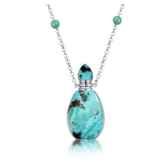 Fashion big stone pendant design neckalce 925 silver pendant with natural gemstone pendant essential oil inside as gift