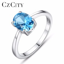 CZCITY 6*8mm Oval Natural Sky Blue Topaz Stud <strong>Earrings</strong> For Women Genuine 925 Sterling Silver Fine Jewelry <strong>Earring</strong>