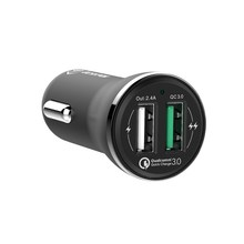 One Year Quality Assurance Rapid Speed 5V 2.4A + Qualcomm Quick Charge 3.0 2 Port Car Charger