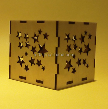 star shape wood box wooden tealight candle holder