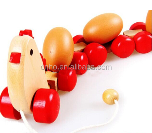 cute wooden pulling chicken lays eggs toys