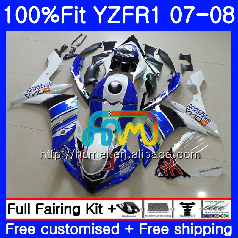 Injection Bodys For YAMAHA YZF 1000 R 1 YZF <strong>R1</strong> 07 08 blue white 90HM26 YZF1000 YZFR1 07 08 YZF-1000 YZF-<strong>R1</strong> 2007 <strong>2008</strong> <strong>Fairing</strong>