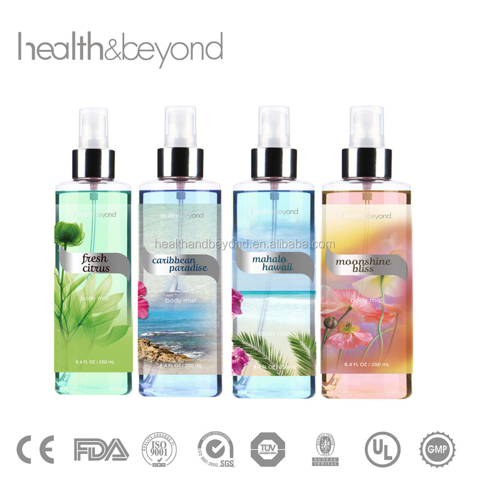 Wholesale 250ML FDA approval flavored body spray victoria's sexy scented body mist body splash perfumes and fragrances