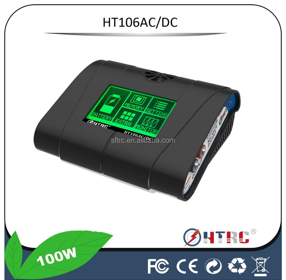 RC Helicopter Battery Charger 2- 6 Cells HT106AC RC Lipo Charger with 3.2 Inch Green Touch Screen Better than HITECH