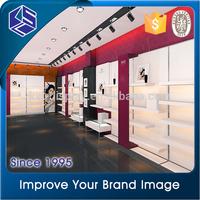 Modern customized shop equipment shoe cabinet with sofa shoe display showcase