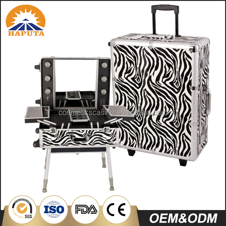 Professional Aluminum Rolling Zebra Makeup Case stand trolley Cosmetic case