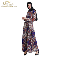 2017 Women Muslim Abaya Maxi Party Dress Turkish Casual Long Printed Abaya Jubah