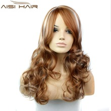 Mixed Auburn and Blonde Color Straight and Deep Curly Super Wave Synthetic Hair Machine Made Wigs for Women