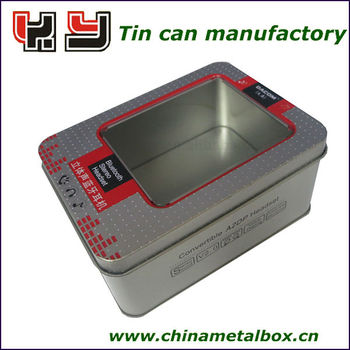 Hot selling OEM bluetooth tin box with clear window wholesale
