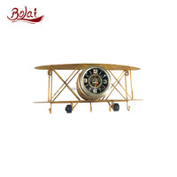 China online shopping home decoration plane clock craft metal snowflakes with BSIC certification