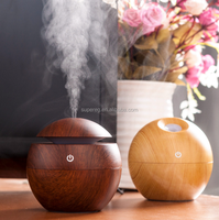 USB Ultrasonic Humidifier Aromatherapy 130ML Mini Portable Mist Maker Aroma Essential Oil Light Wooden Diffuser