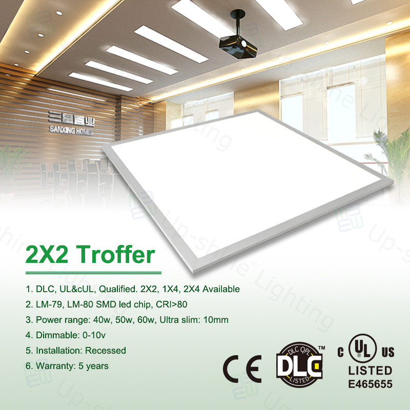 American standard square sizes 1x4 2x2 2x4 UL DLC qualified retrofit dimmable led recessed light