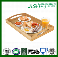 Cheap bamboo wooden food serving tray, serving tray and bamboo tray with handles