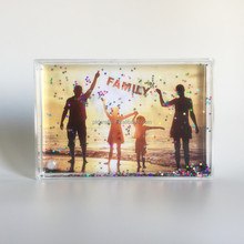 Acrylic cube snow globe photo frame with shining slice