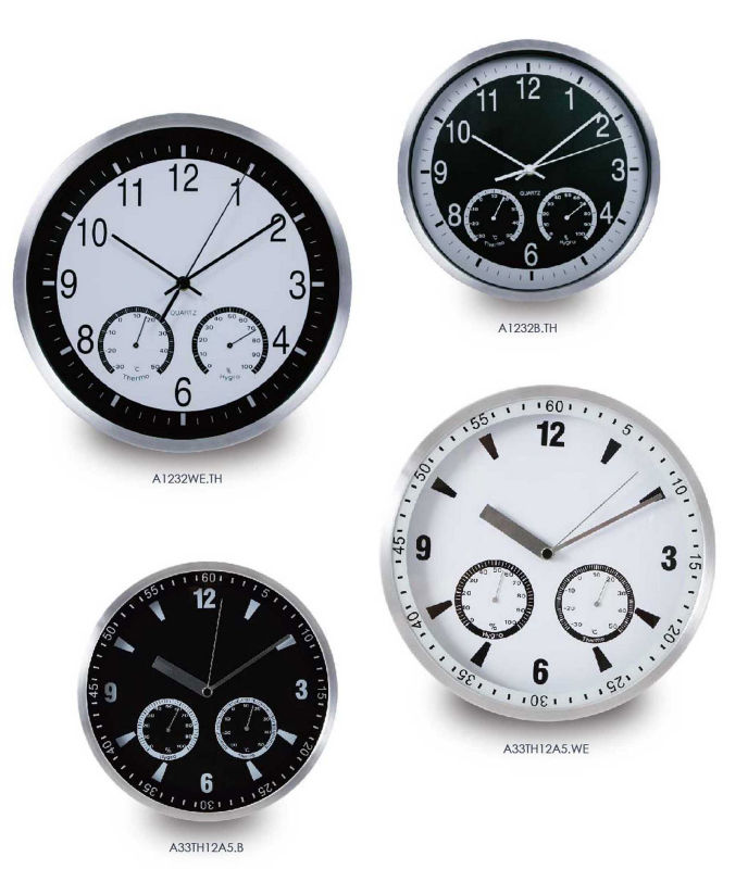 Metal Home Decor/ Designer 12 inch Quartz weather station clock / Metal Wall Watch